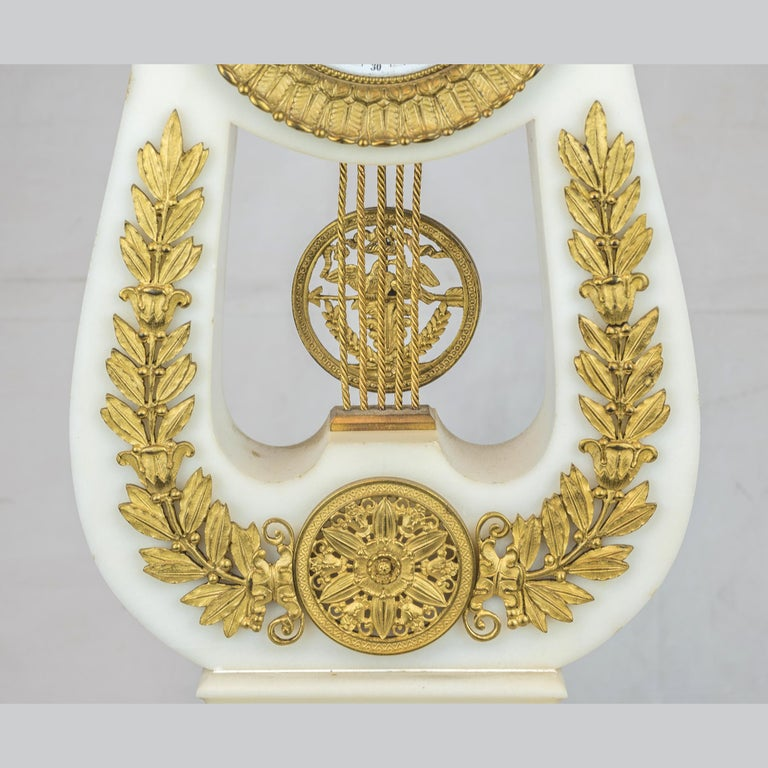 19th Century Empire Style Ormolu and White Marble Lyre Clock Garniture Clockset For Sale 1