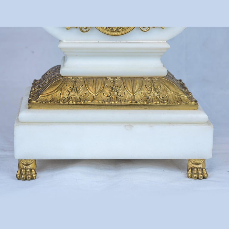 19th Century Empire Style Ormolu and White Marble Lyre Clock Garniture Clockset For Sale 2