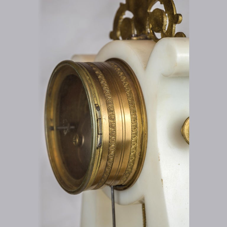 19th Century Empire Style Ormolu and White Marble Lyre Clock Garniture Clockset For Sale 3