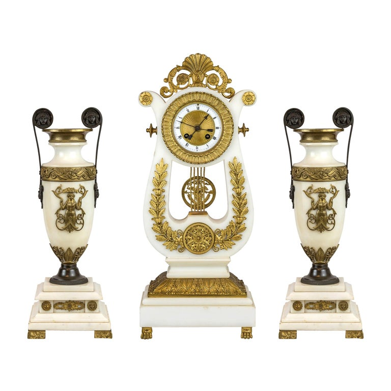 19th Century Empire Style Ormolu and White Marble Lyre Clock Garniture Clockset For Sale