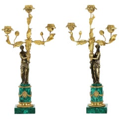 19th Century Empire Style Pair of Bronze & Malachite Antique Figural Candelabra