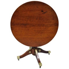 19th Century Empire Style Round Mahogany Tilt-Top Table with Bronze Ormolu