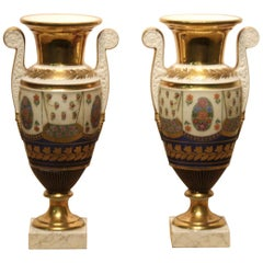 19th Century Empire Vases in Ceramic with Polychrome and Gold Decorations