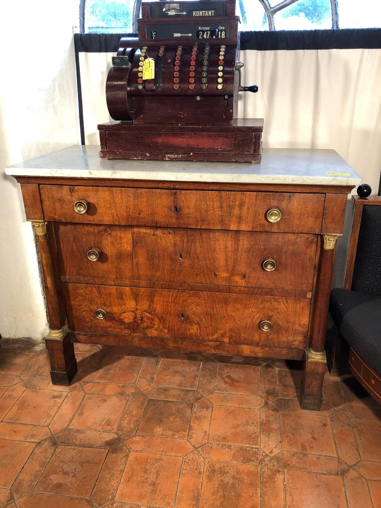 19th Century Empire Walnut Chest and Drawers Italian Lucca, 1800s 3