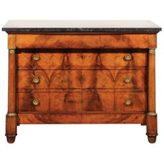 19th Century Empire Walnut Chest with Marble Top