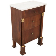 19th Century Empire Walnut Wood Antique Nightstand with White Marble Top