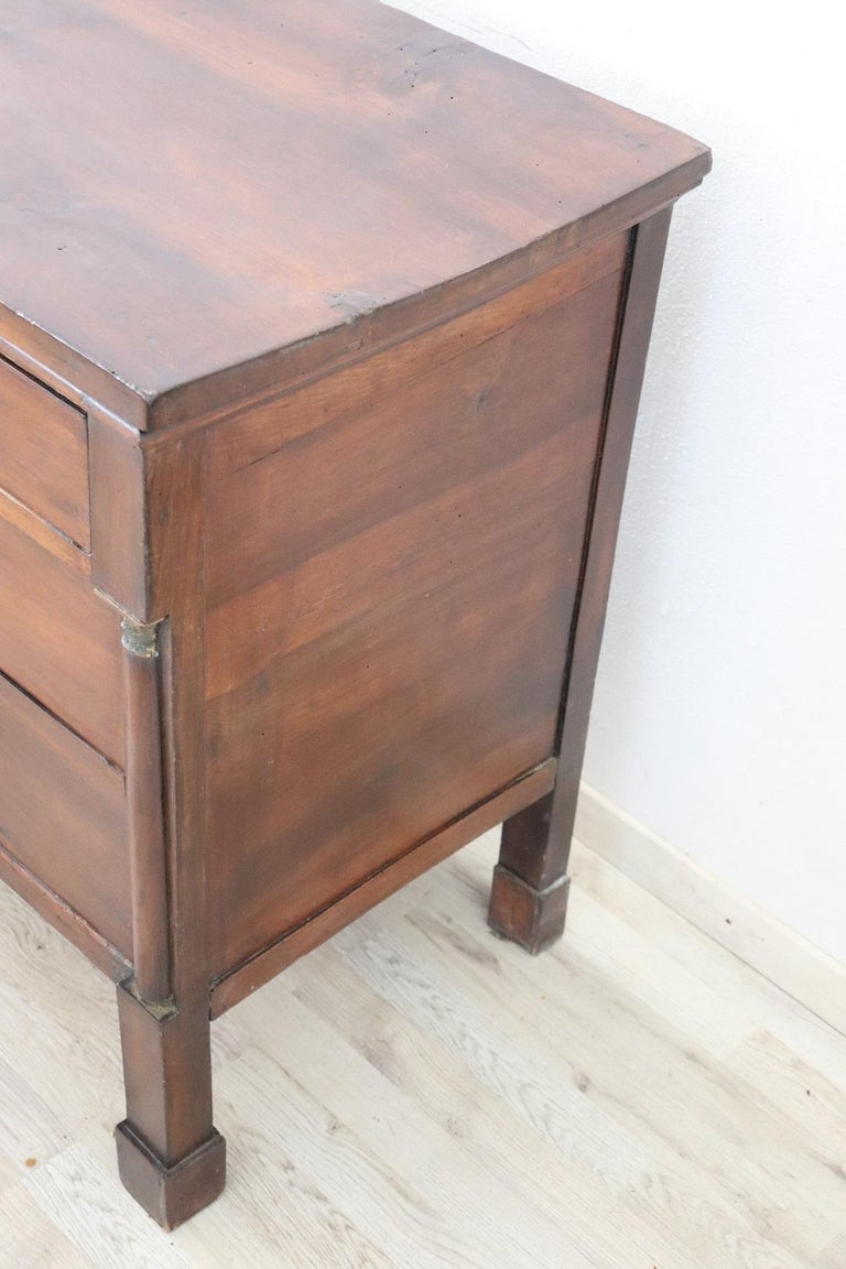 Italian 19th Century Empire Walnut Wood Commode or Chest of Drawer For Sale