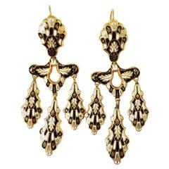 k19th Century Enamel Girandole Chandelier Dangle Lever-Back 18k Gold Earrings