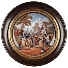 19th Century Enameled Miniature After D. Teniers