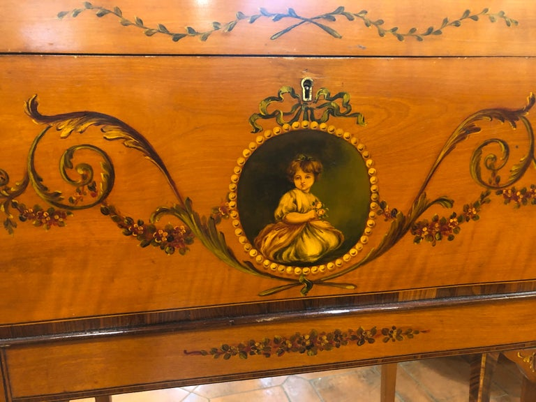 19th Century England Victorian Satinwood Wood Painted Dome Top Work Box, 1880s For Sale 3