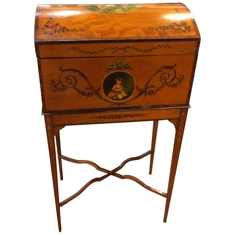 19th Century England Victorian Satinwood Wood Painted Dome Top Work Box, 1880s For Sale