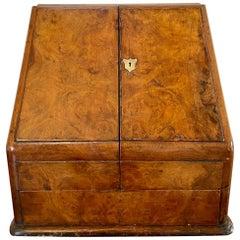 19th Century English Antique Victorian Burr Walnut Stationery Box