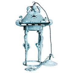 19th Century English Art Nouveau Verdigris Lantern