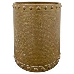19th Century English Arts & Crafts Hammered Brass Bucket