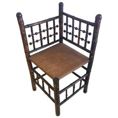 19th Century English Bamboo and Rattan Corner Chair