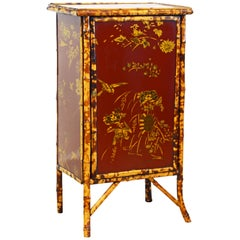 19th Century English Bamboo and Red Lacquer Chinoiserie Gilt Decorated Cabinet