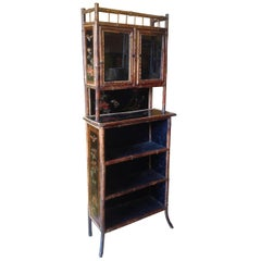 19th Century English Bamboo Bookcase or Side Cabinet