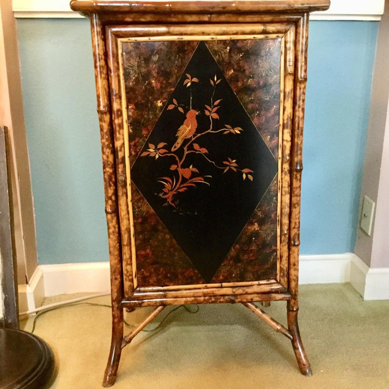 19th Century English Bamboo Cabinet with Chinoiserie Lacquered Panels For Sale 6
