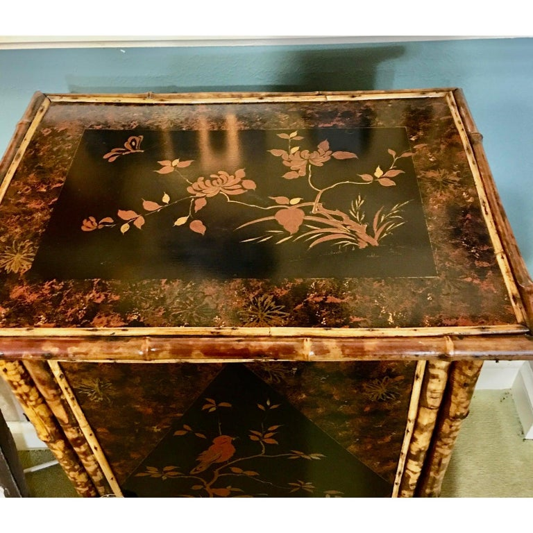 Late 19th Century 19th Century English Bamboo Cabinet with Chinoiserie Lacquered Panels For Sale