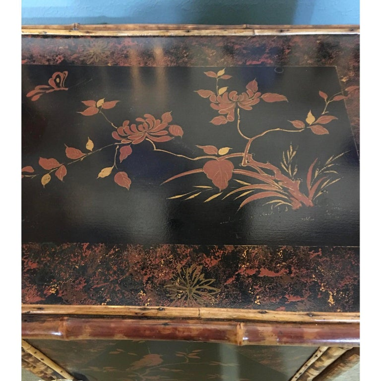 19th Century English Bamboo Cabinet with Chinoiserie Lacquered Panels For Sale 1