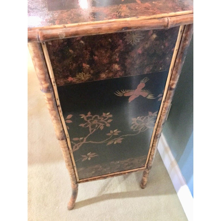 19th Century English Bamboo Cabinet with Chinoiserie Lacquered Panels For Sale 3