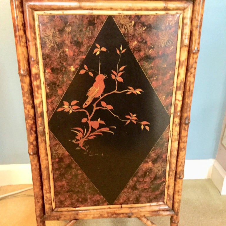British Colonial 19th Century English Bamboo Cabinet with Chinoiserie Lacquered Panels For Sale