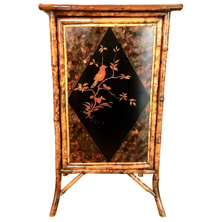 19th Century English Bamboo Cabinet with Chinoiserie Lacquered Panels For Sale