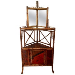 19th Century English Bamboo Corner Cabinet
