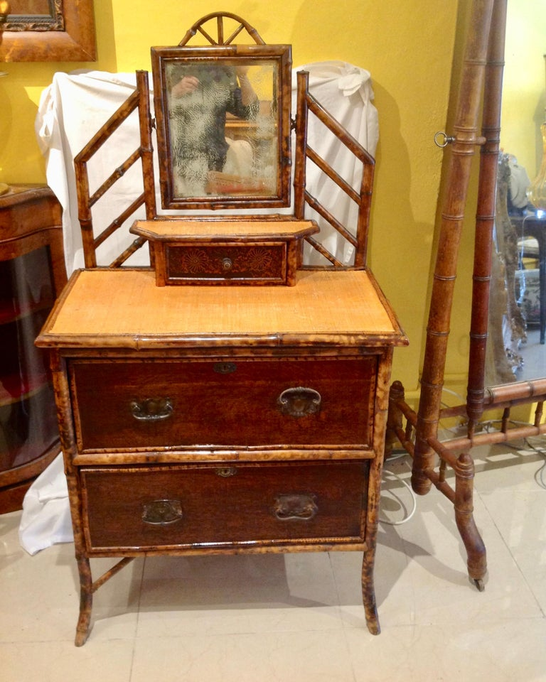 19th Century English Bamboo Cottage Dresser In Good Condition In West Palm Beach, FL