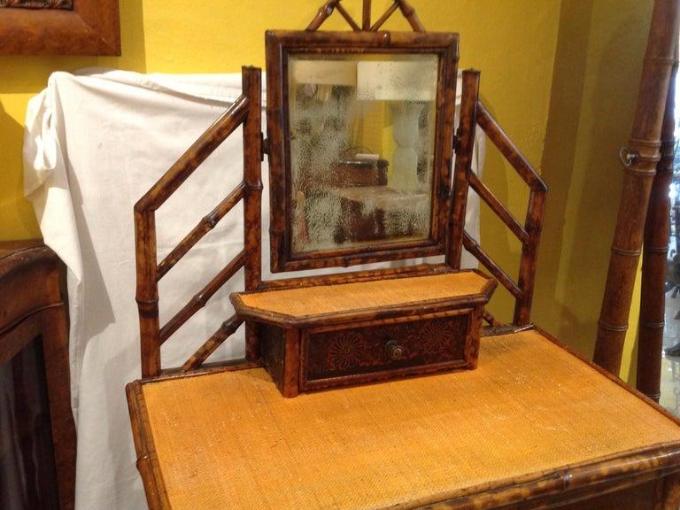 Metal 19th Century English Bamboo Cottage Dresser