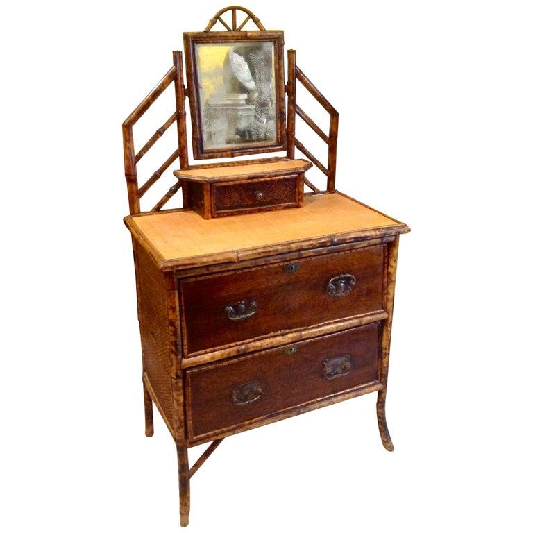 19th Century English Bamboo Cottage Dresser