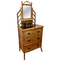 19th Century English Bamboo Gentleman 's Chest / Dresser