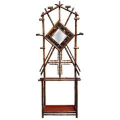 19th Century English Bamboo Hall Tree Umbrella Stand Mirror Chinoiserie