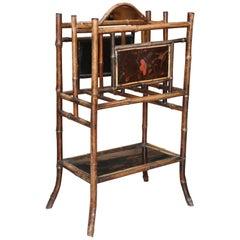 19th Century English Bamboo Magazine Stand / Canterbury
