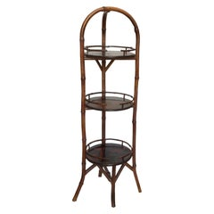 19th Century English Bamboo Muffin Stand / Étagère