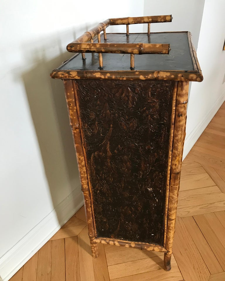 Metal 19th Century English Bamboo Side Cabinet For Sale