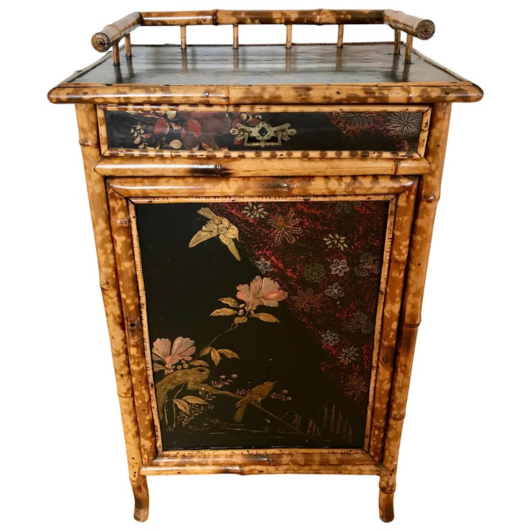 19th Century English Bamboo Side Cabinet For Sale