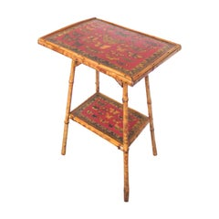 19th Century English Bamboo Side Table with Butterfly Decoupage