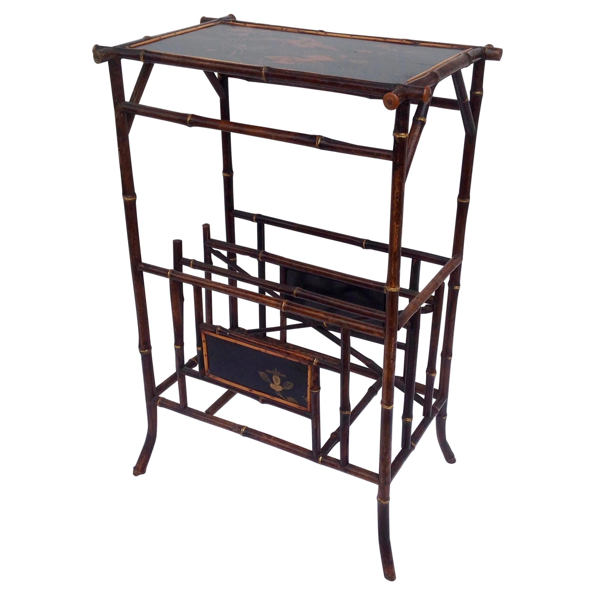 """19th Century English Bamboo Side Table with """"Canterbury"""" Base"""