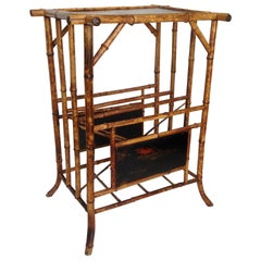 """19th Century English Bamboo Side Table with """" Canterbury """" Base"""