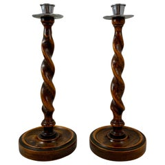 19th Century English Barley-Twist Oak and Pewter Topped Candlesticks, a Pair