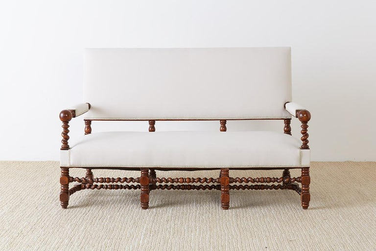 Jacobean 19th Century English Barley Twist Sofa Settee For Sale