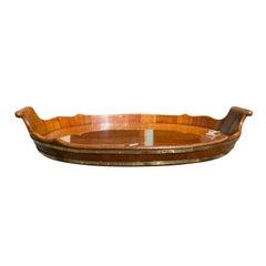 19th Century English Bateau Style Mahogany Tray with Brass Banding