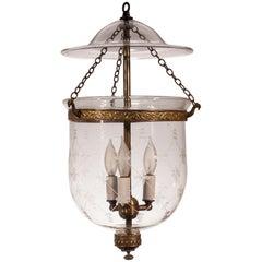19th Century English Bell Jar Lantern with Trellis Etching