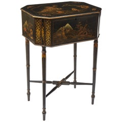 19th Century English Black Japanned Work Table