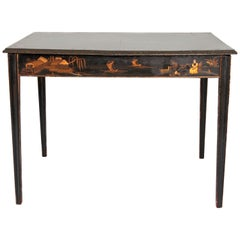 19th Century English Black Lacquer Chinoiserie Card / Games Table