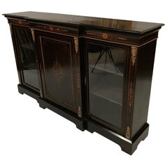 19th Century English Black Lacquered Breakfront Credenza with Marquetry