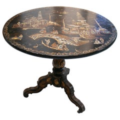 19th Century English Black Lacquered Chinoiserie Pedestal Table