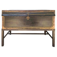 19th Century English Black Leather and Brass Trunk on Stand