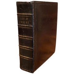 """19th Century English Black Leather Bound with Gilt """"Life of Christ"""" Dated 1857"""